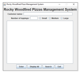 information in an array of Pizza objects