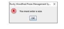 Enter size dialogue box