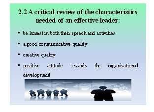 characteristics needed of an effective leader