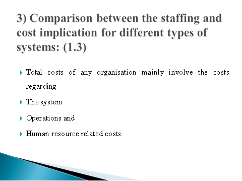 Comparison between the staffing and cost implication for different types of systems