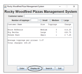 Display all pizza orders: displayAll()
