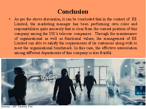 Conclusion on marketing of EE ltd
