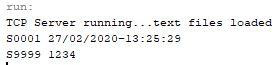 Output of TCP Sever